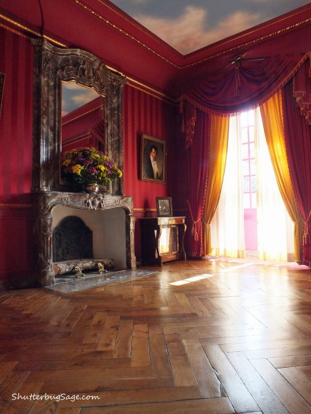 A bedroom in the Chateau de Villandry in the Loire Valley of France.