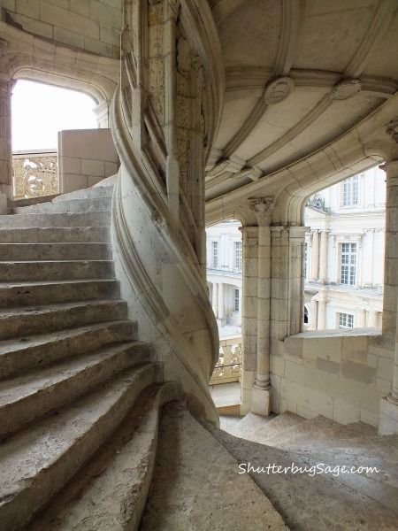 A staircase at the Chateau Royal de Blois in the Loire Valley of France.