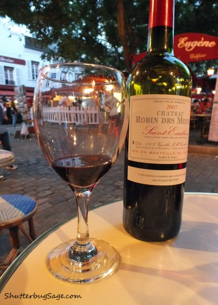 A bottle of red wine the Montmartre district of Paris