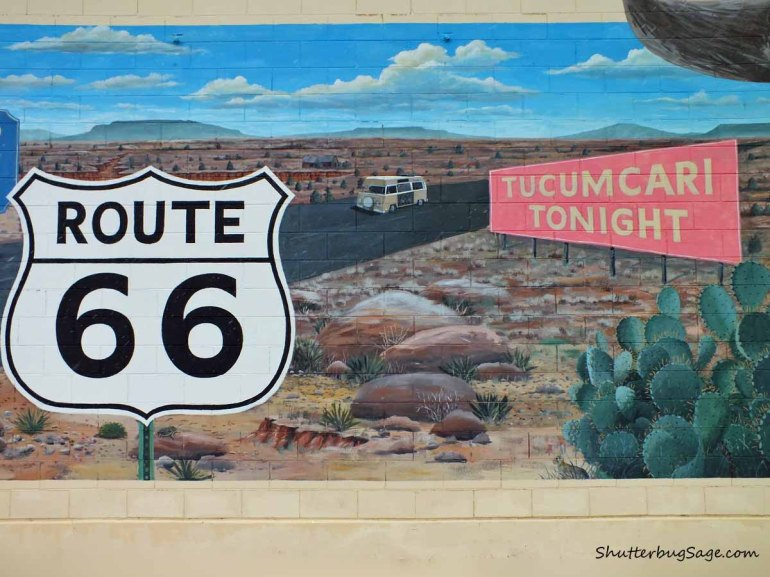 Tucumcari Tonight mural depicting a Route 66 sign and a VW camper