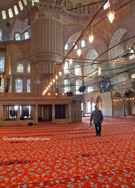 Inside the Sultan Ahmed (or Blue) Mosque in Istanbul, Turkey.