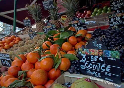 A fresh fruit market in France