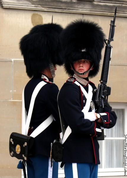 Guard at Amelienborg palace in Copenhagen, Denmark