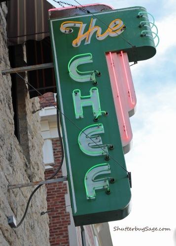 Neon sign outside The Chef restaurant in Manhattan, Kansas