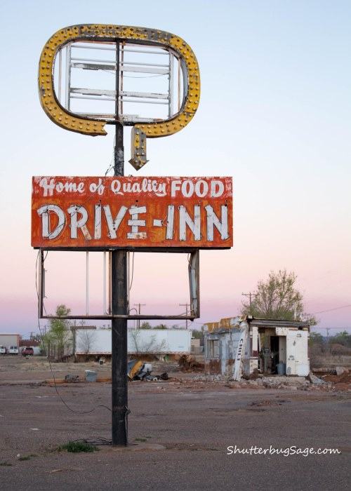 The abandoned Westerner Drive-Inn sign in Tucumcari, NM