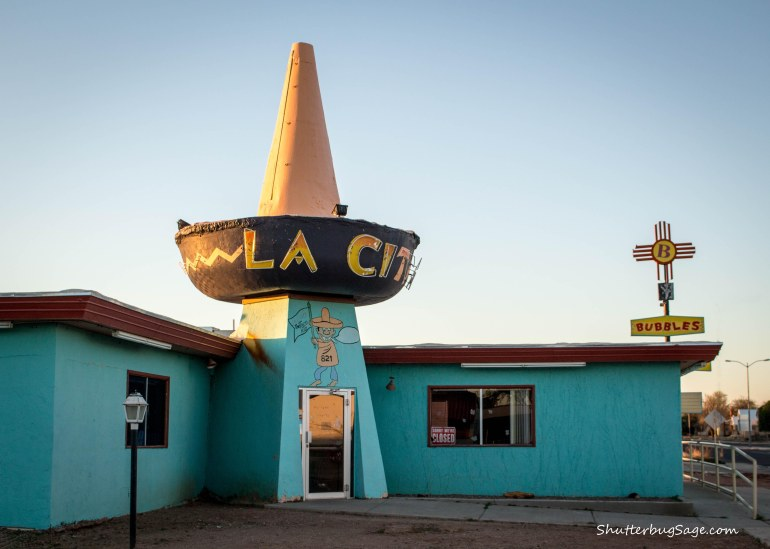 The giant. cement sombrero of La Cita Mexican restaurant is a Route 66 icon in Tucumcari