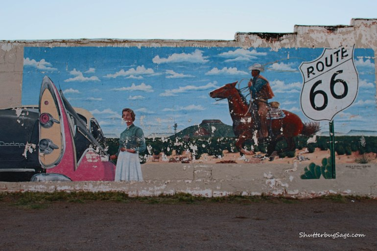 Old mural showing some wear in Tucumcari, New Mexico