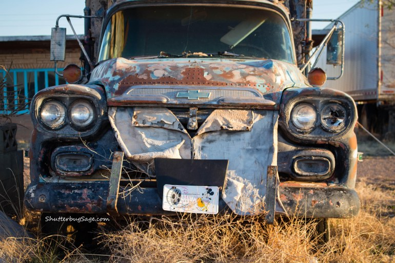 Close up of an old Chevrolet in front of the Ranch House Cafe in Tucumcari, New Mexico